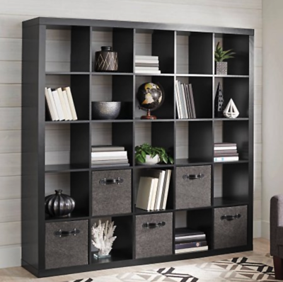 Wall Large 25 Cube Unit Bookcase Storage Display Stand Room Divider Black 71 With Images Cube Bookcase Bookcase Storage Room Divider Shelves