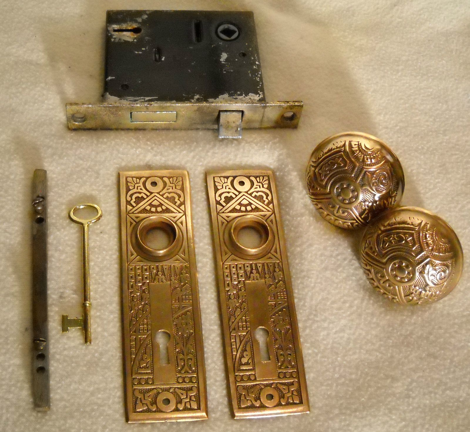1890u0027s Brass Eastlake Door Knob , Plate U0026 Lock Set | EBay