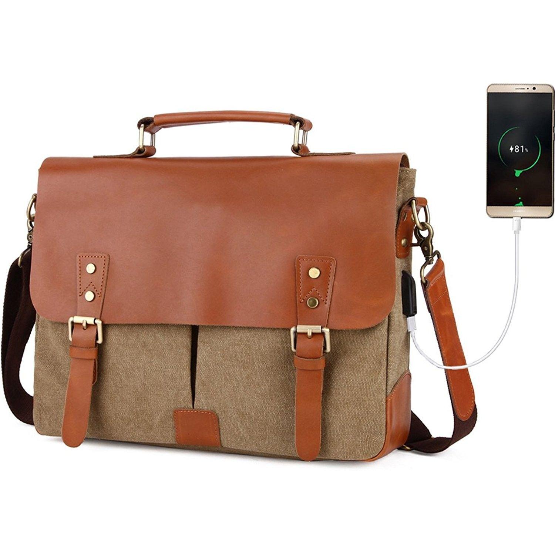 "Vintage Gents Cow Real Leather Briefcase Messenger Crossbody Bag 14/"" Laptop Case"
