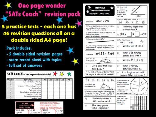Sats Maths Revision Pack Ks2 One Page Wonder Kids Pinterest
