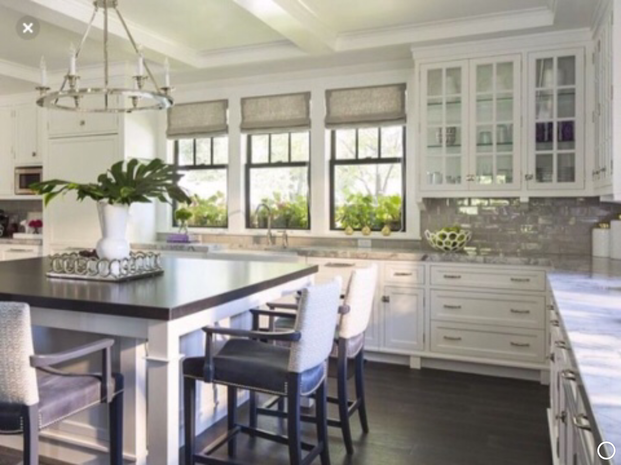 Window Treatments And 2 3 Sided Island Like How The Overhang Is On The Island Ls Hamptons Kitchen Contemporary Kitchen Kitchen Interior