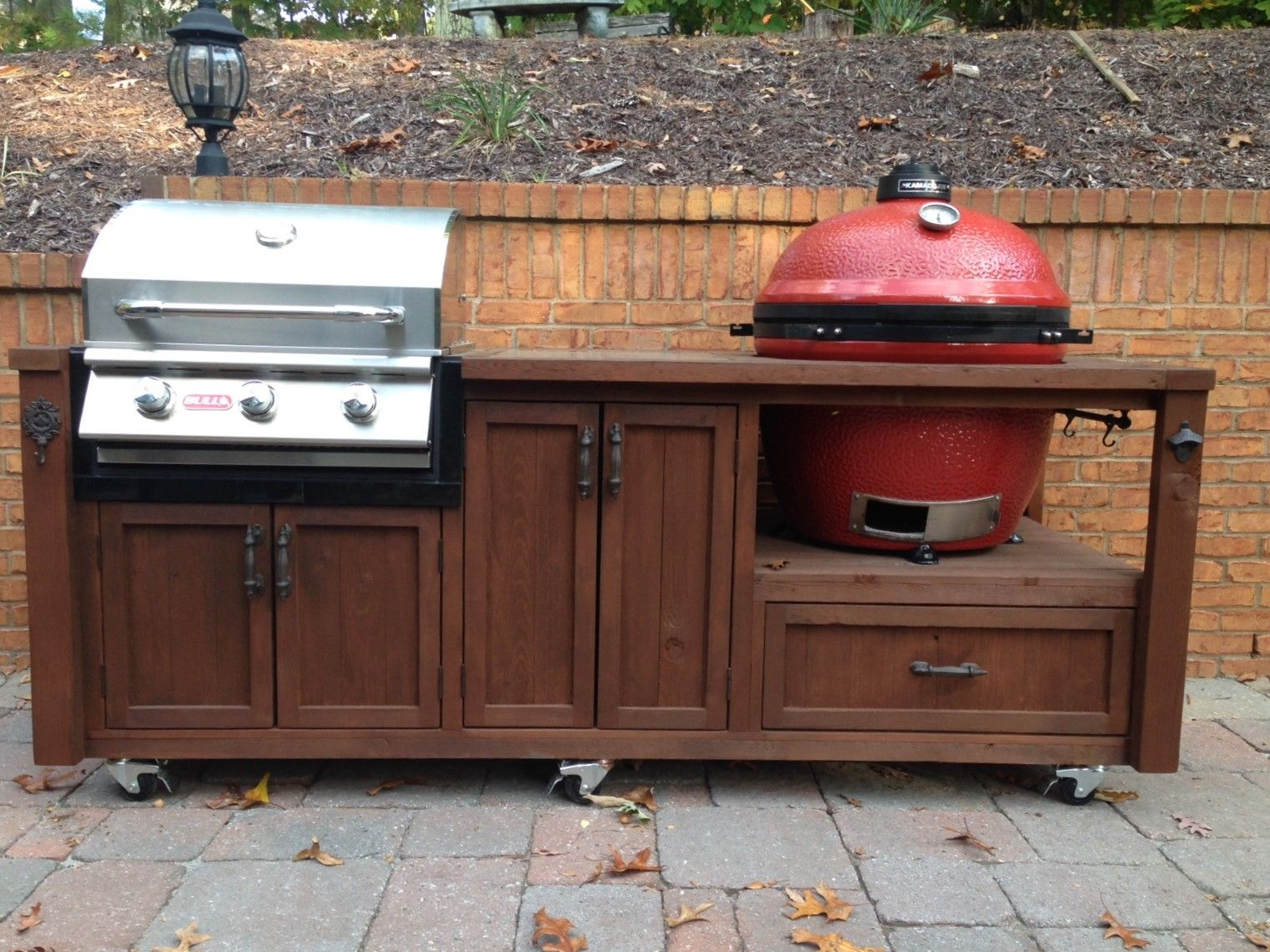Mobile Outdoor Grill Island For Your Kamado And Gas Grill Grill Table Outdoor Kitchen Bars Custom Grill
