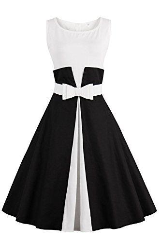 Robe de Soirée Cocktail Courte Rétro jointif Vintage 1950 Style Audrey  Hepburn Rockabilly Swing Grande Taille par Babyonlinedress Noir M 7010767f13