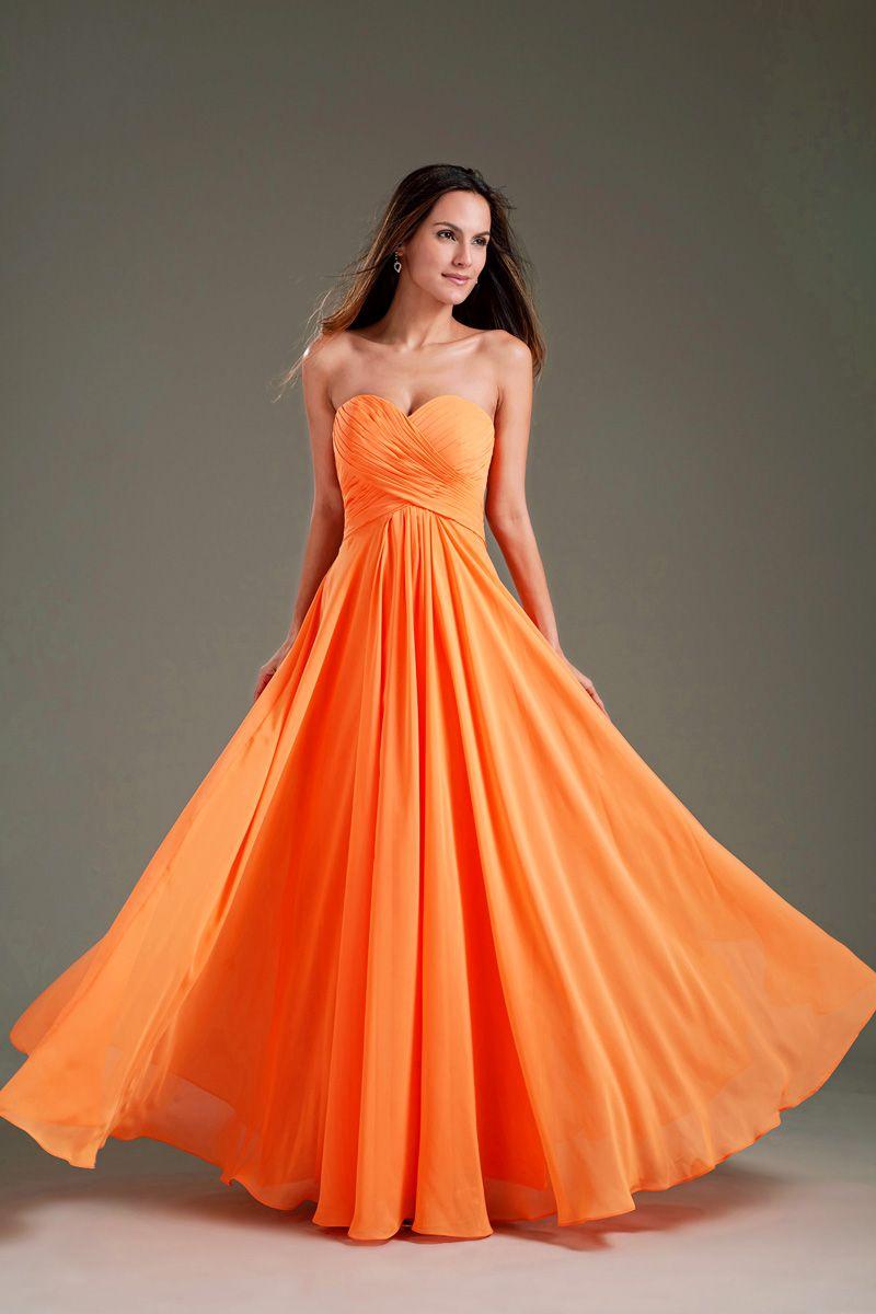 Simple sweetheart strapless pleated orange chiffon bridesmaid dress