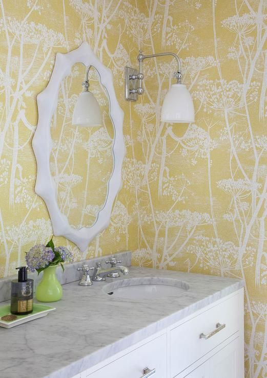Cole & Son Cow Parsley Wallpaper in a powder room