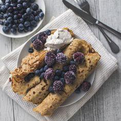 Vegan Quinoa Crepes with berries.
