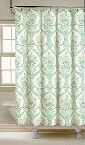 Nicole Miller Large Floral Medallion Cotton Shower Curtain 72 Inch By  72 Inch Turquoise