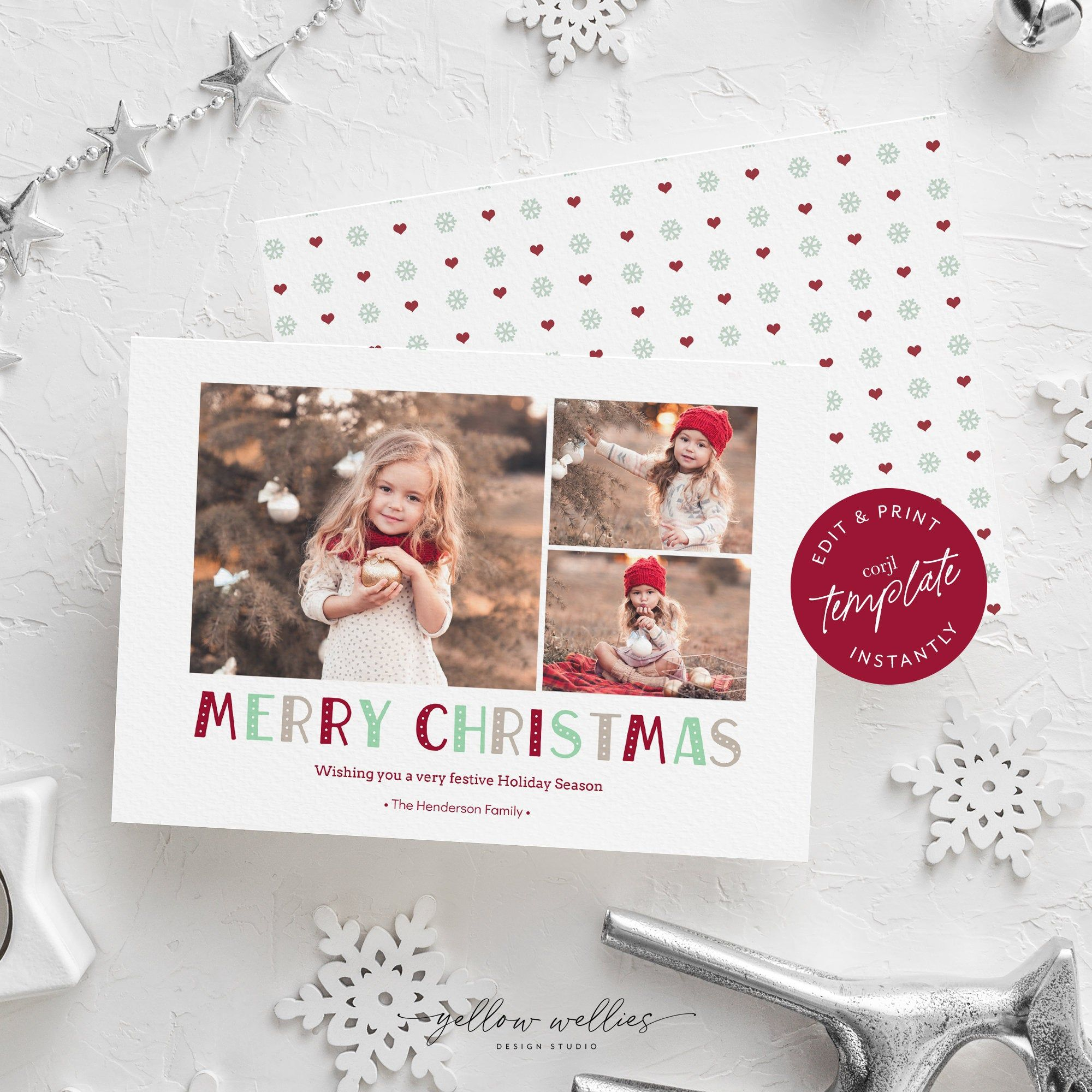 Editable Christmas Holiday Photo Card Template Corjl Instant Download Diy Printable P Printable Photo Card Holiday Photo Cards Template Photo Card Template