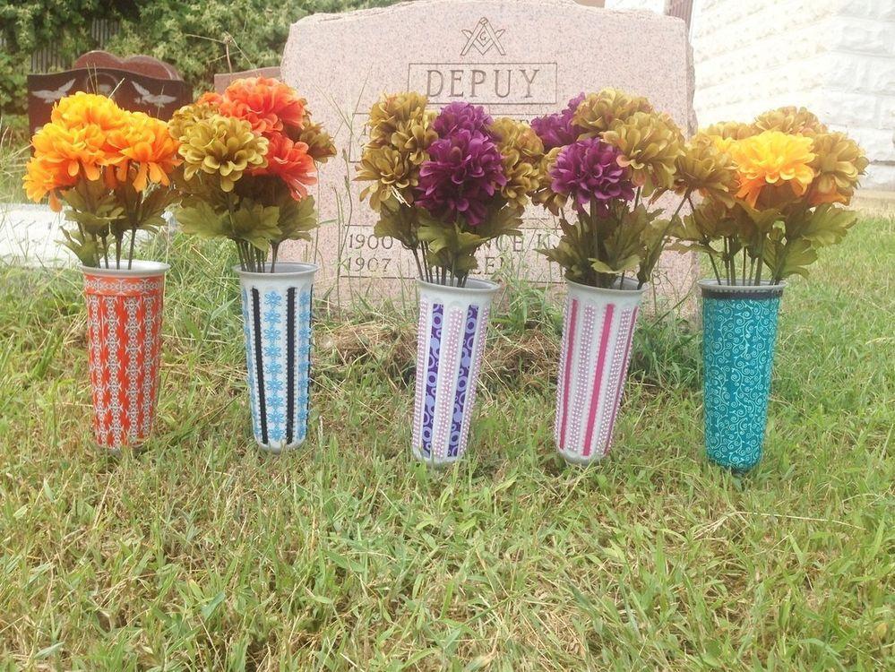 Beautifully Designed Handmade 7 Plastic Cemetery Grave Flower Vases