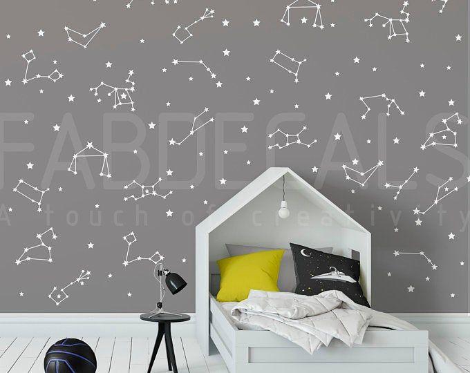 27 Zodiac Constellation Wall Decals – Star Decals, Zodiac Gift, Vinyl Wall Decals, Star Wall Sticker