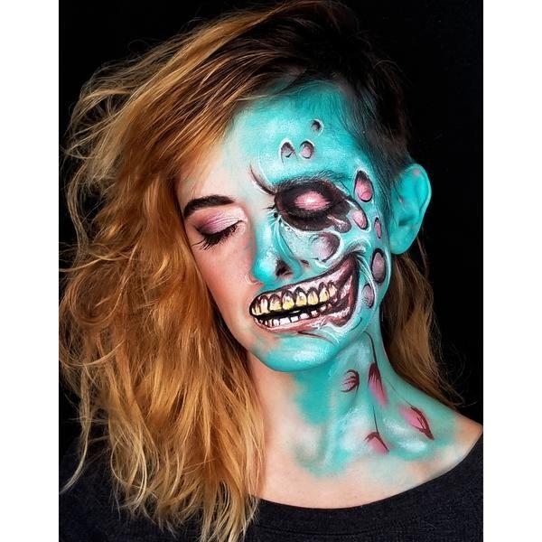 Bright Half Zombie Face Paint by Kellie Burrus | Zombie ...