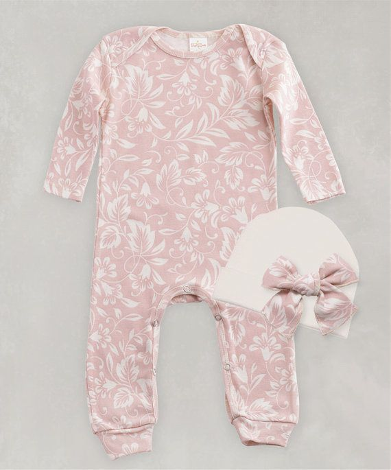 b3b3efd0c Newborn Girl Take Home Outfit, Girl Romper Cap Set, Blush & Ivory Filigree  Cotton Rib Set, Baby Girl Clothes, Baby Girl Playsuit