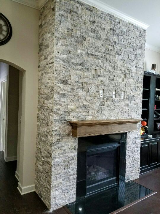 Silver Travertine Stacked Stone Fireplace Stone