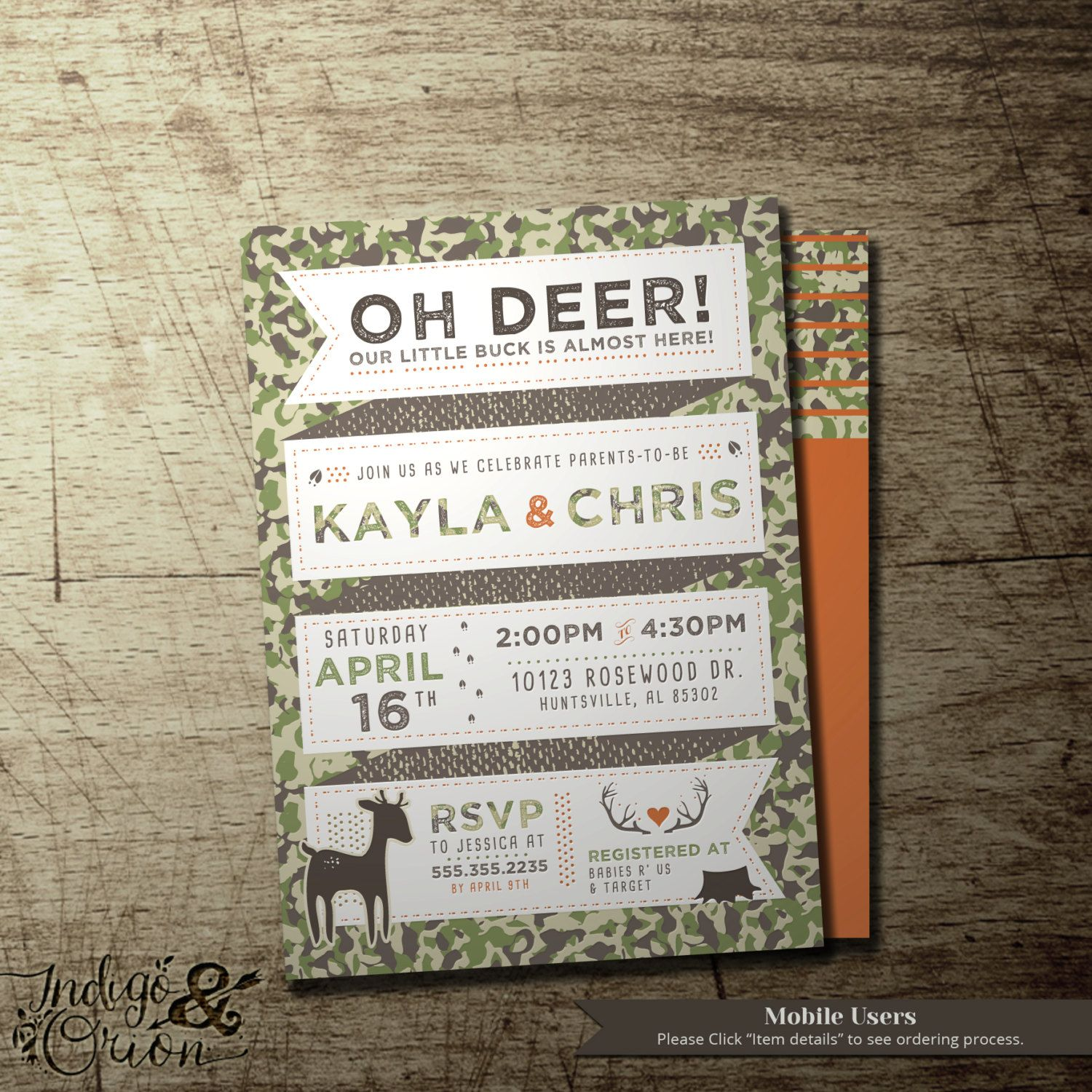 Camo baby shower invitation oh deer co-ed couples baby shower   Co ...