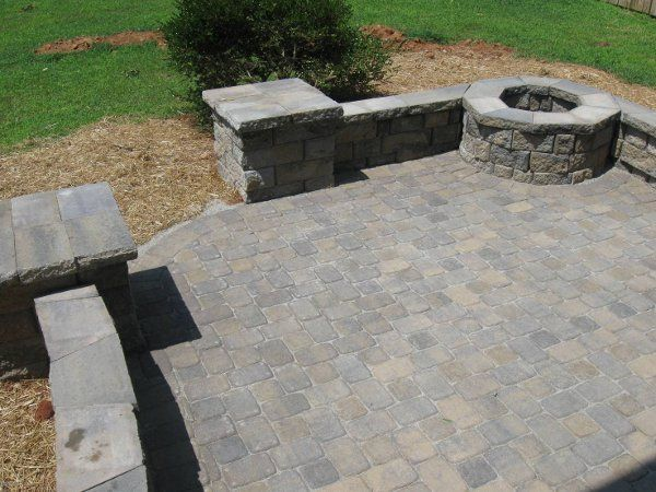 Fire Pit Built Into Square Sitting Wall Paver Patio Outdoor