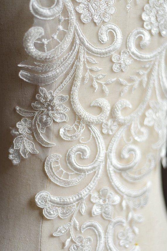 7e5a01c90d Free Shipping!! 1PC Beaded Lace Applique,Off-White Lace Applique ...