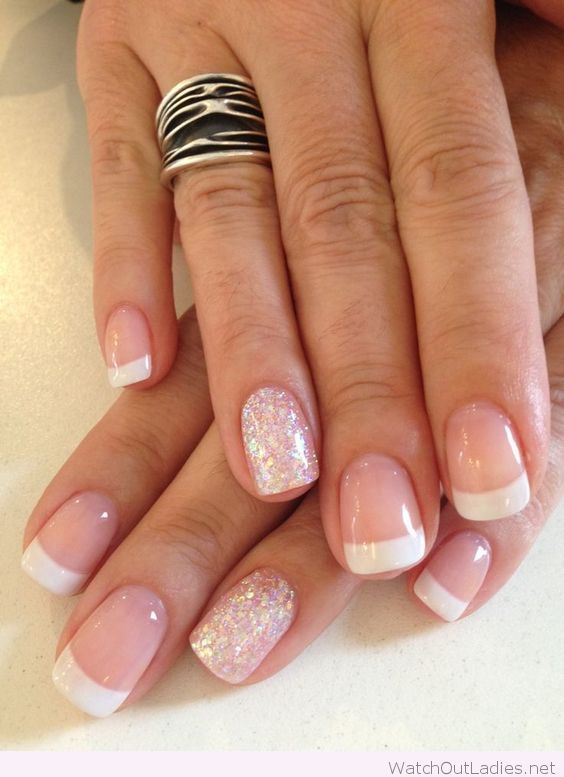 French Manicure And Glitter Detail