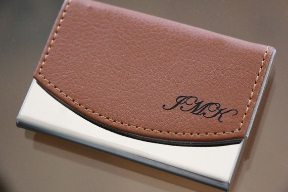 Business Card Holder Personalized Leather Case Custom Engraved Hold Graduation