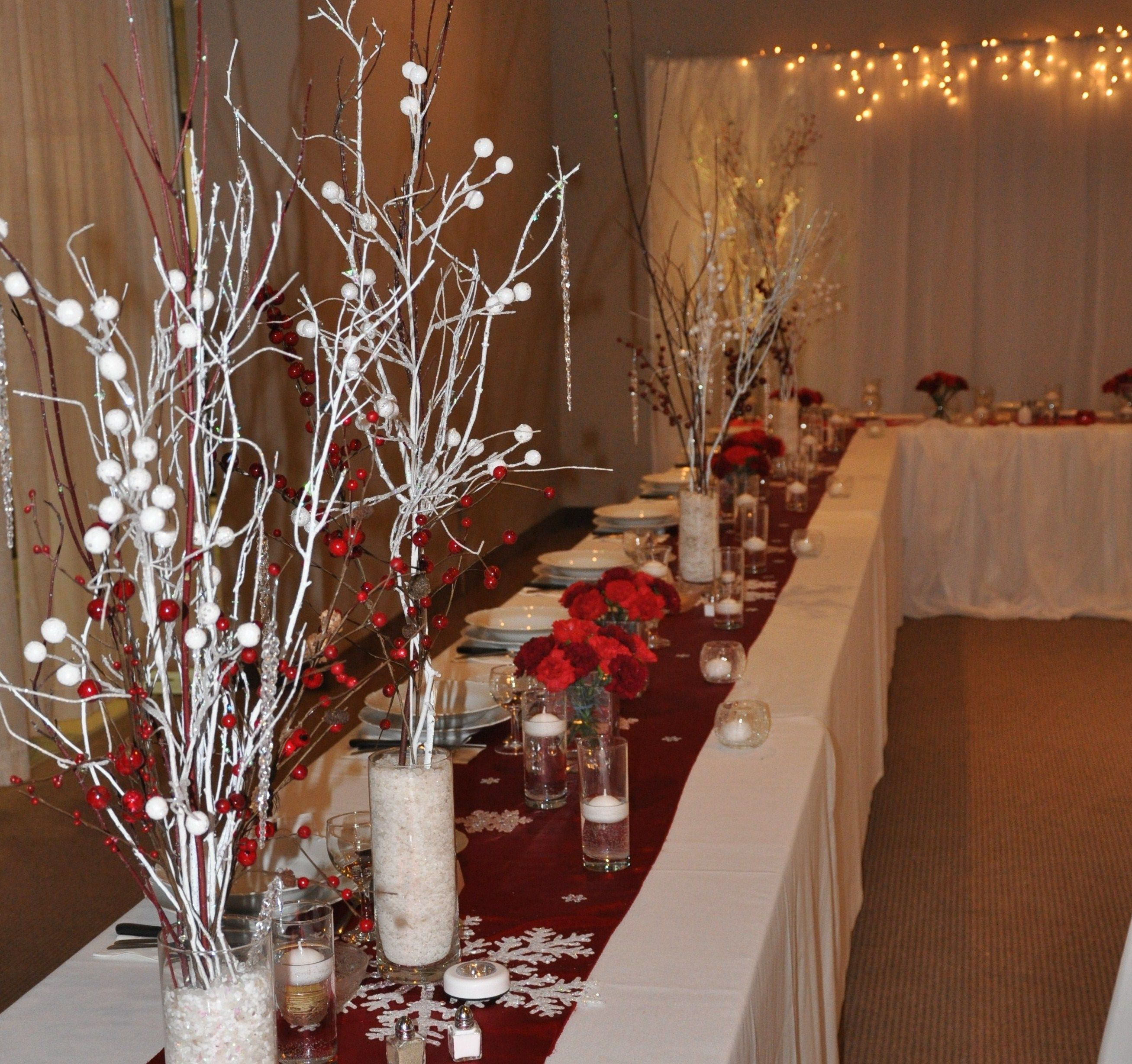 Red And White Rustic Winter Themed Wedding, Décor By