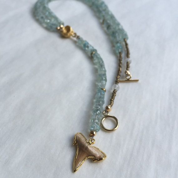 Kona Lariat Necklace / 24k Gold Dipped Shark Tooth & by LunaAvalon
