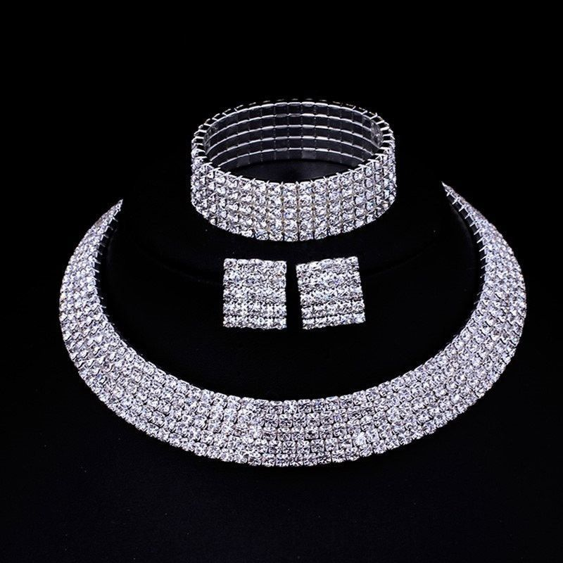 Cheap Bridal Wedding Jewelry Buy Quality Sets Directly From China Necklace Earrings Bracelet Suppliers Mecresh Rhinestone Silver
