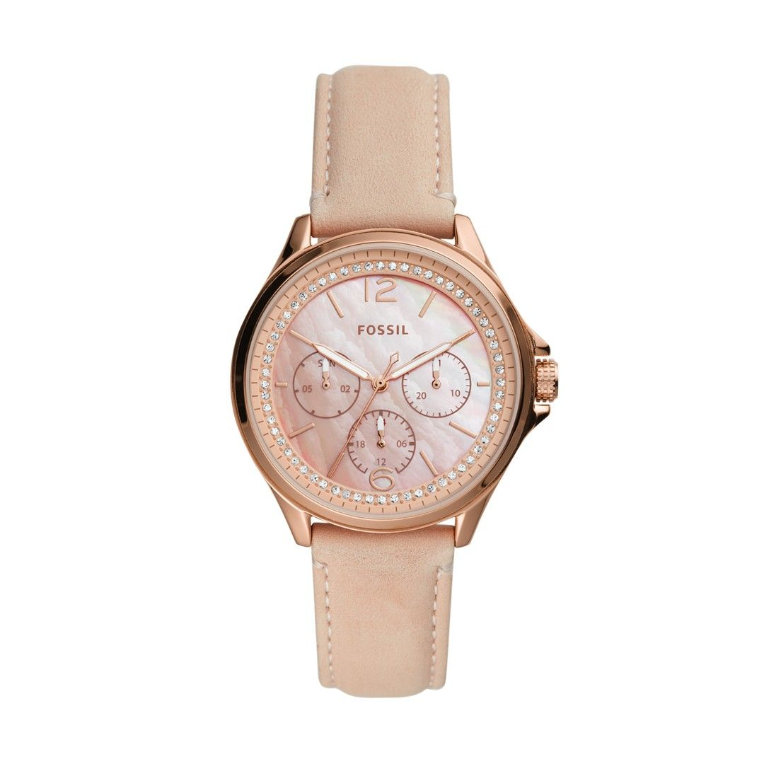 Sadie Multifunction Blush Leather Watch | Leather, Watches