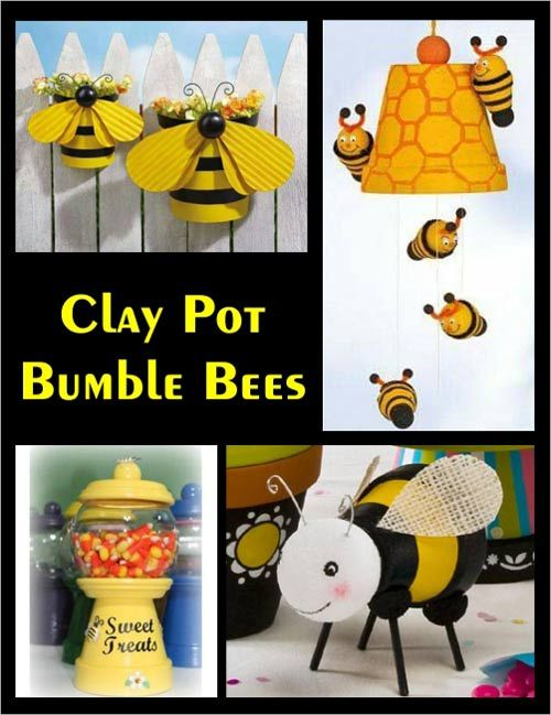 Clay Pot Bumble Bee Ornaments and Planters | Clay Pot Crafts