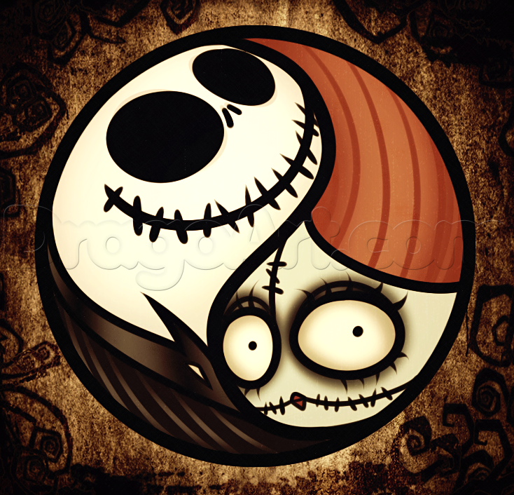how to draw a jack and sally yin yang step by step symbols