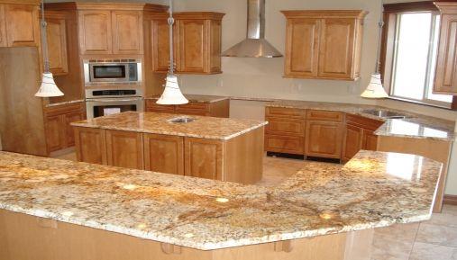 Honey Granite Slabs : Honey granite light wood cabinets white backsplash