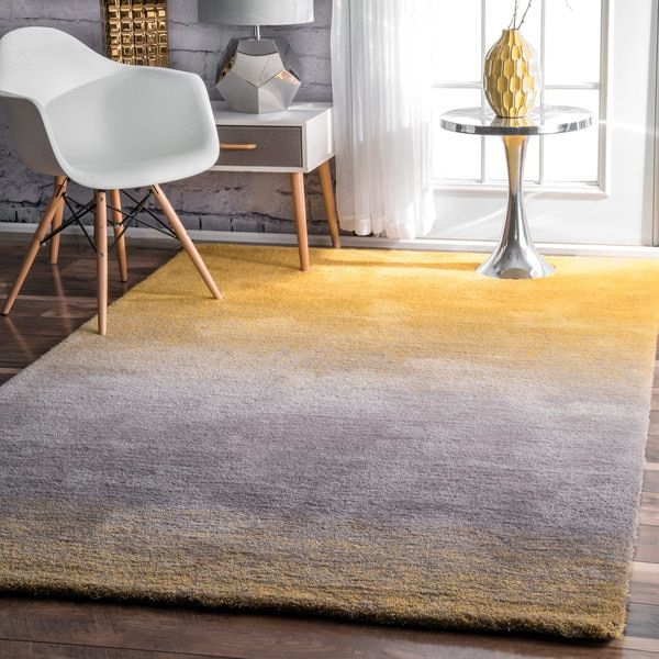 nuLOOM Handmade Soft and Plush Ombre Shag Yellow Rug 9 x 12