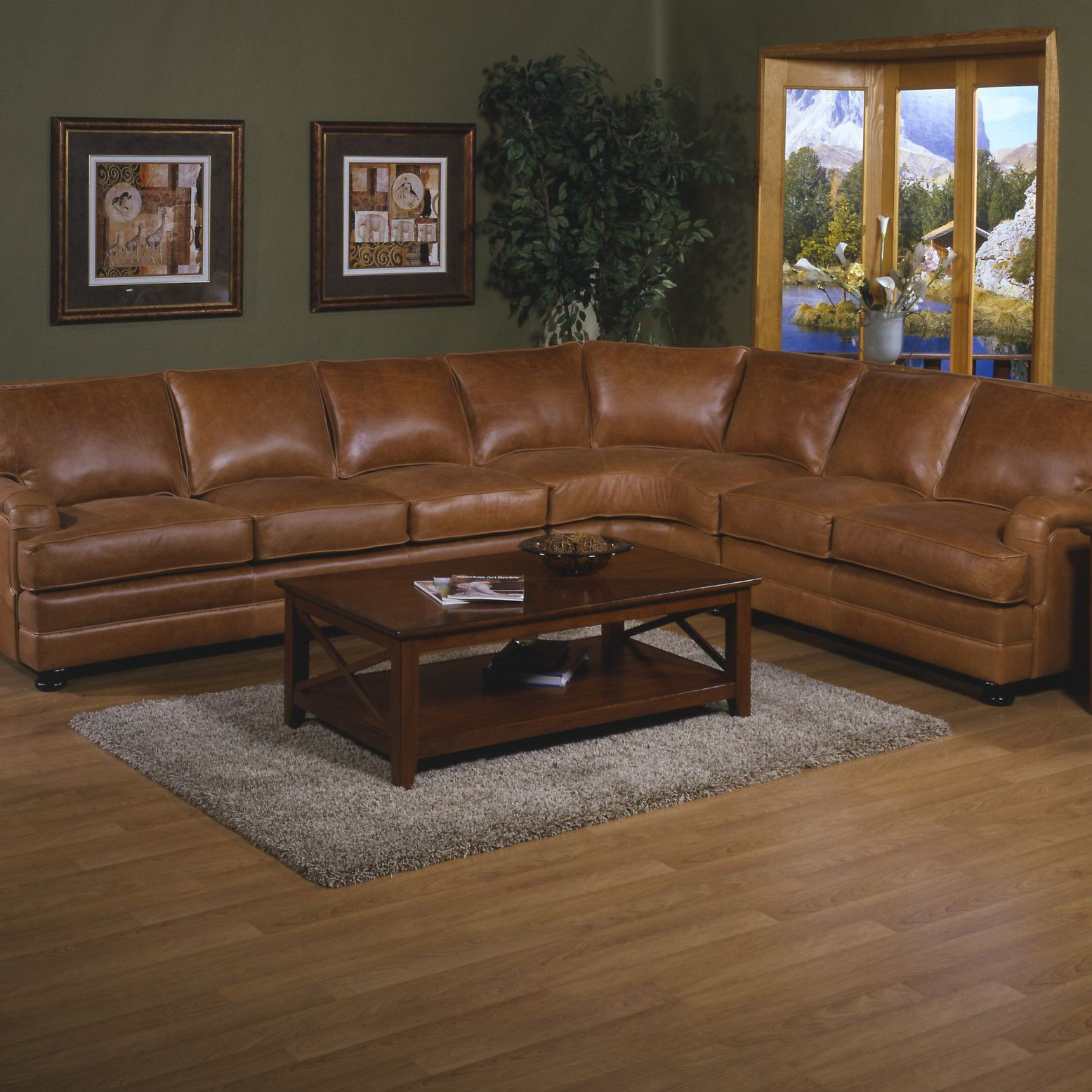 Omnia Furniture Pantera Leather Right Facing Sectional Sectional Sofa Sectional Sofa Couch Leather Sectional