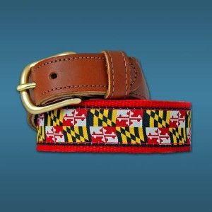 Maryland Flag Belt Leather Tab Belt Leather Saddle Leather