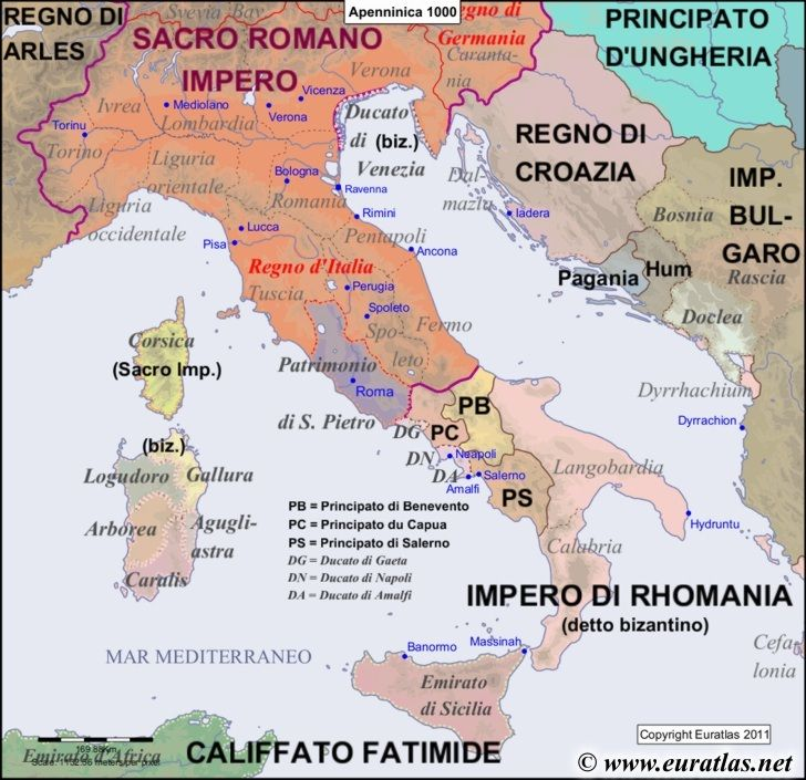 Map of the Apennine Peninsula in the year 1000  World History