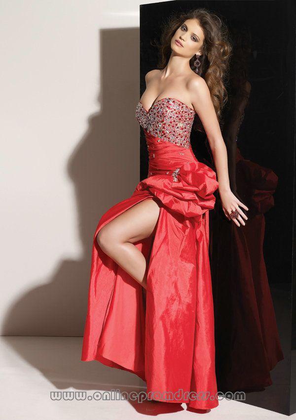 Sequin T rimed Sweetheart Slit Red Fairy Dresses Hot... | Hot ...
