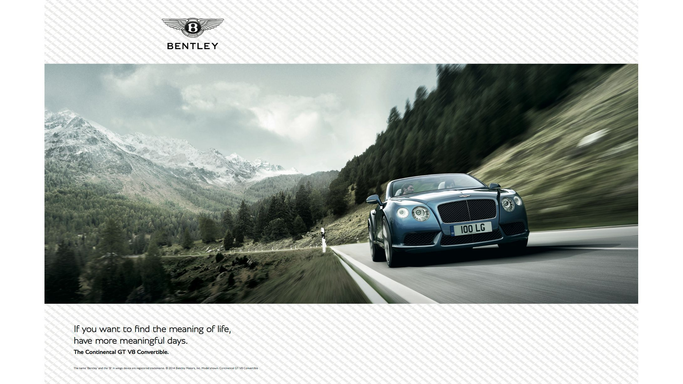 "Bentley Motors Print Ad ""Meaningful Days"""