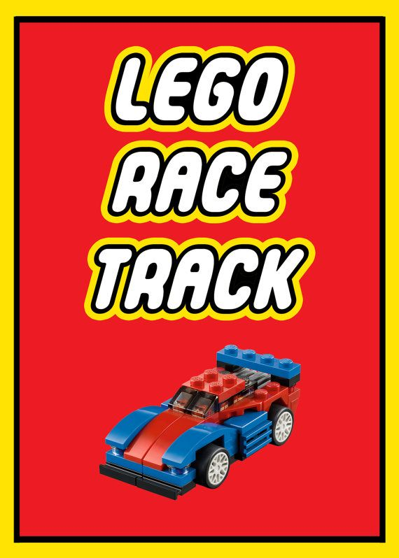 Lego Party Game Sign  Lego Race Track  5x7 Red