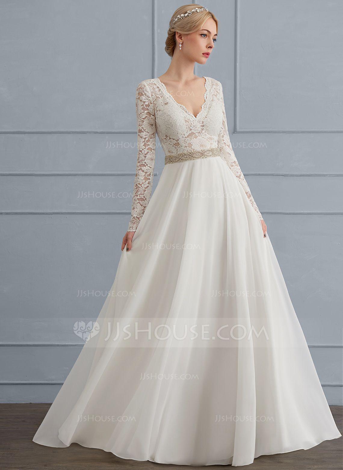 A-Line/Princess V-neck Court Train Chiffon Wedding Dress With ...