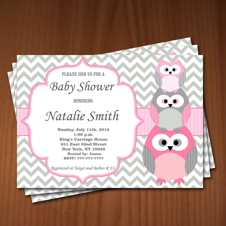 Owl Baby Shower Invitation Girl Baby Shower invitations Printable