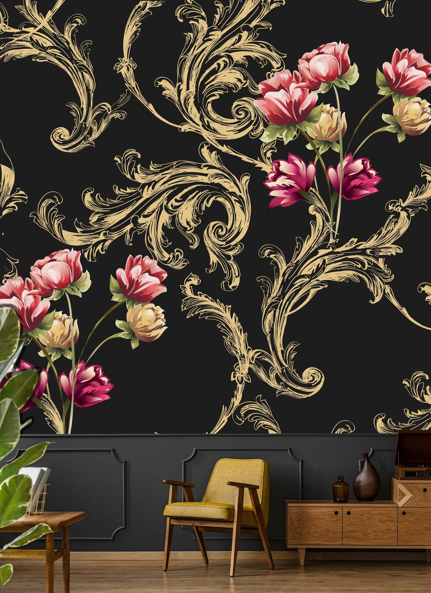 Removable Wallpaper With Floral Ornament Peel And Stick Dark Etsy Floral Wallpaper Rose Gold Wall Decor Vintage Wallpaper