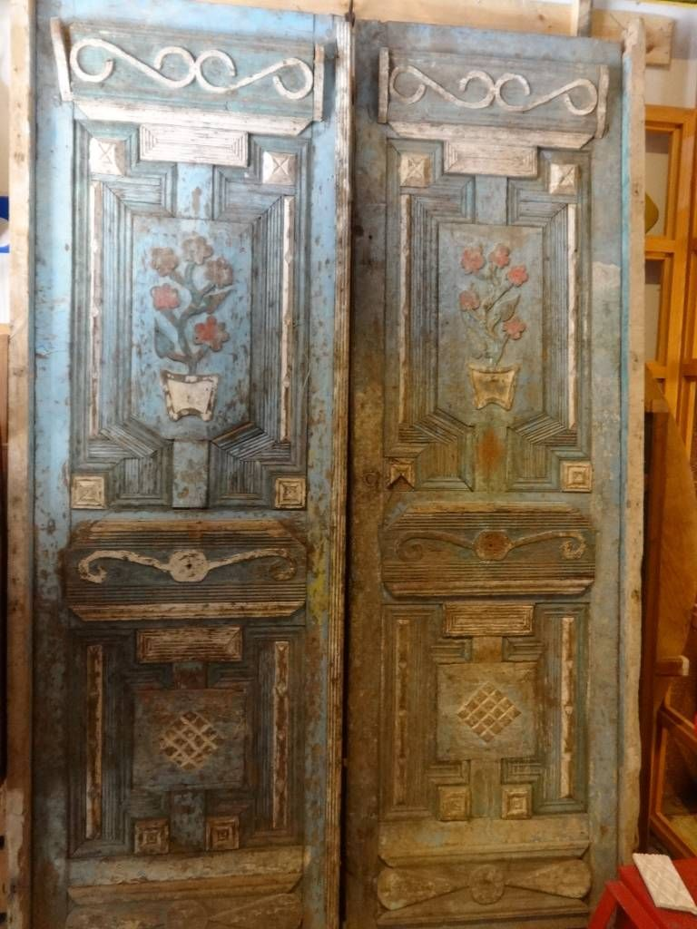19th Century Hand Carved Egyptian Door Set Each Door Is 102 High X 31 Wide Total Width 62 Rustic Doors Antique Doors Carved Doors