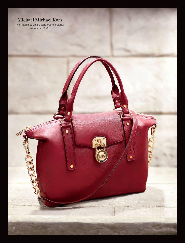 Michael Michael Kors- Hamilton medium slouchy leather satchel in cinnabar. $368. #holtsmag
