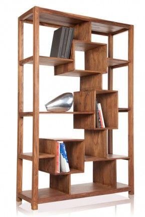 Massives Bücherregal CUBIX Makassar Sheesham 180cm Möbel - designer mobel bucherregal