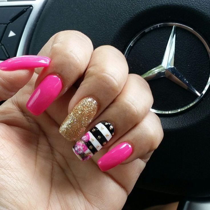 Kate spade themed nail art design | nails | Pinterest | Nail ...