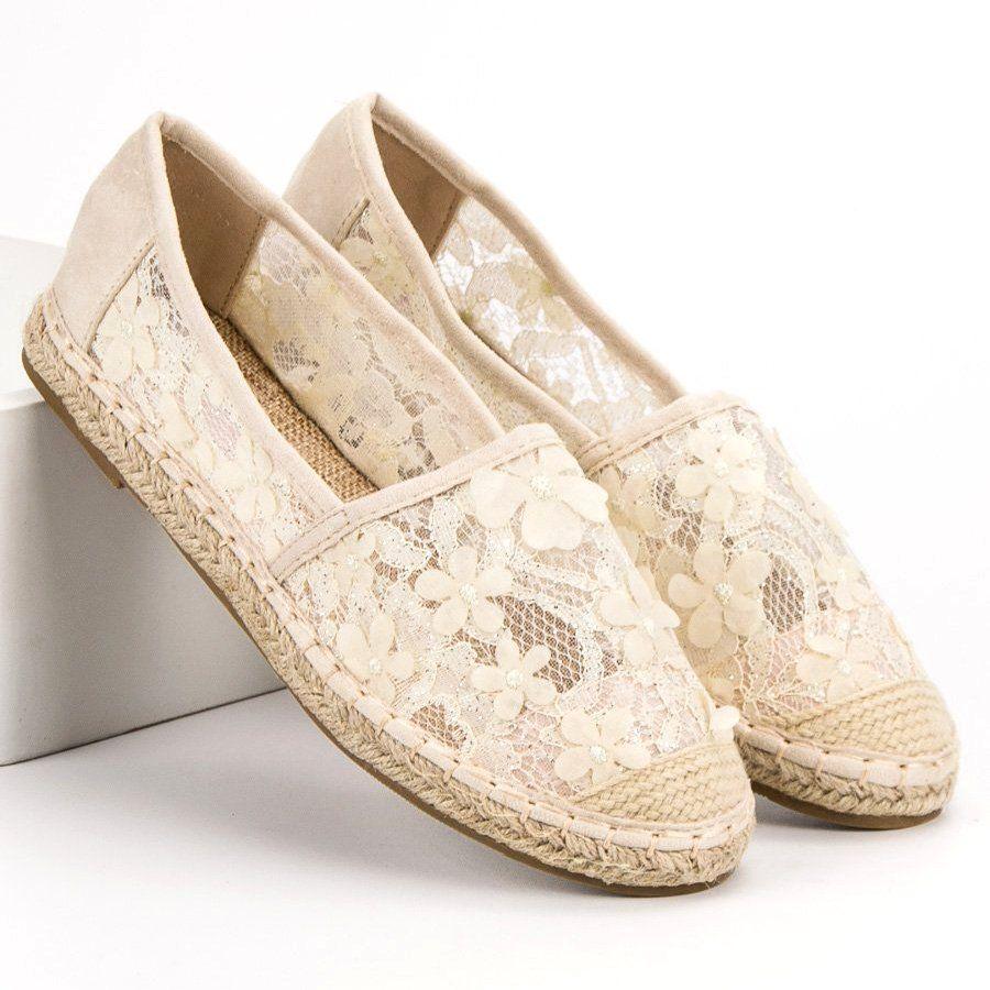 Nio Nio Koronkowe Espadryle W Kwiaty Brazowe Toms Original Shoes Fashion