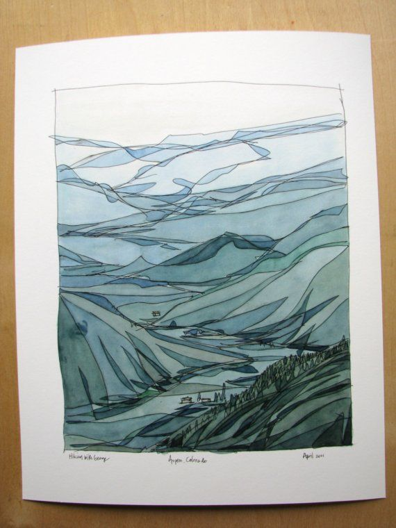Love The Watercolor Mountain Overlay Plays Off Of Topographic