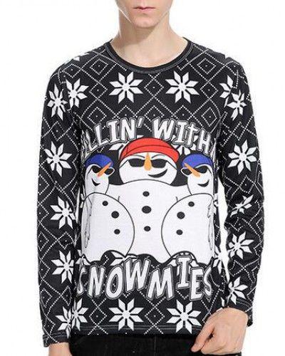christmas snowflake snowman t shirt for men long sleeve tee