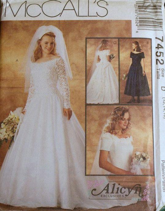 Wedding Dress Pattern Mccalls 7452 Sizes 12 16 Bust 34 38 Quot Waist 26 1 2 3 Wedding Gown Patterns Bridesmaid Dress Sewing Patterns Mccalls Patterns Dress