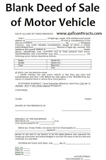 Blank Deed Of Sale Of Motor Vehicle Template Doc Word Motor Car Sell Car Car Purchase