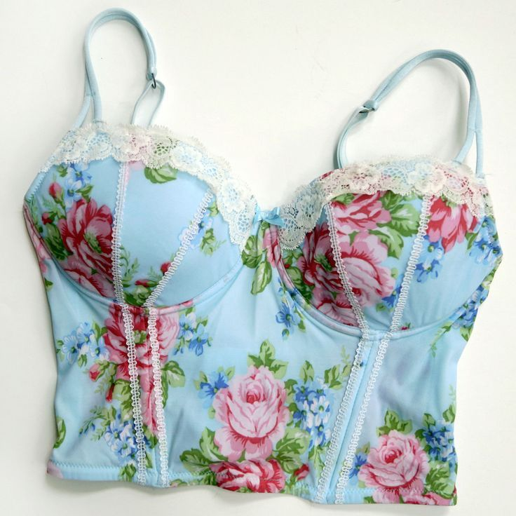 for sale 28b gorgeous pink roses floral shabby chic bustier bra lingerie blue lingerie