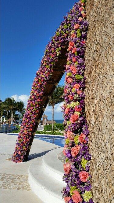 Flowers on the gazebo frame
